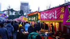 Street food stalls inside the temple
