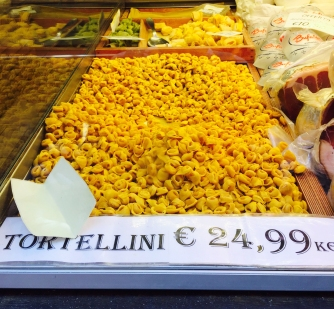 Tortellini are the pasta of Bologna, or so it is said. They are one of the stuffed kinds, both ends of which are attached to each other so it resembles a ring.